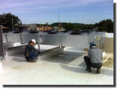Installing equipment on a roof