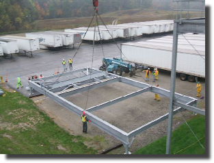 Custom support frame we designed for a large roof top installation.